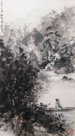 A CHINESE LANDSCAPE HANGING SCROLL PAINTING FU BAOSHI MARK