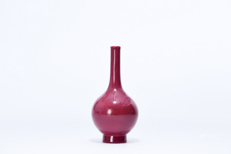 A CARMINE RED GLAZED PORCELAIN VASE