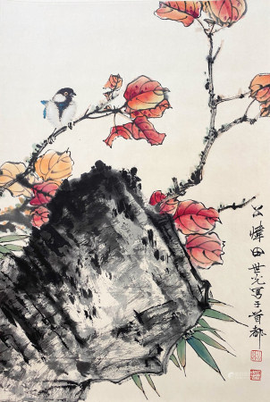 A CHINESE BIRD-AND-FLOWER HANGING SCROLL PAINTING TIAN SHIGUANG MARK