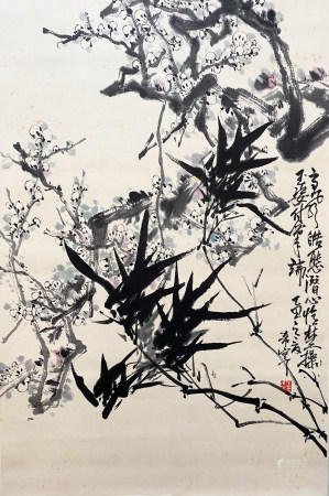 A CHINESE BIRD-AND-FLOWER HANGING SCROLL PAINTING YU XINING MARK