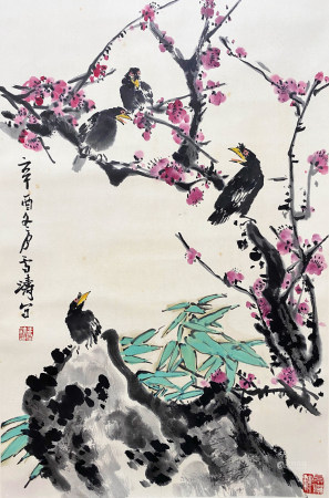 A CHINESE BIRD-AND-FLOWER HANGING SCROLL PAINTING WANG XUETAO MARK