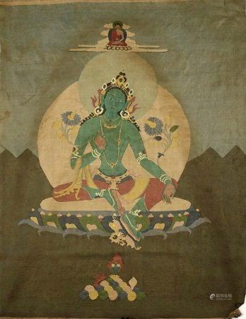 A TIBET PAINTING OF GREEN TARA