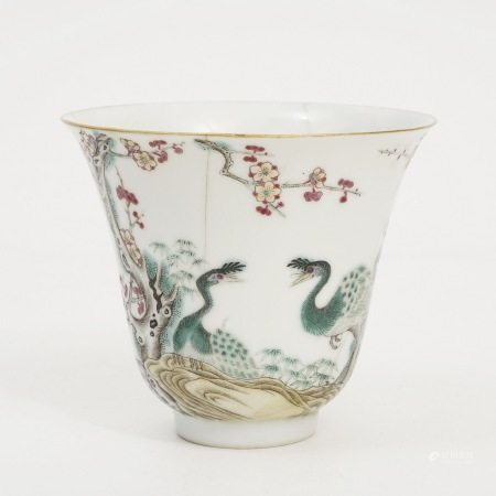 A pastel peacock bell-shaped cup, late Qing Dynasty 晚清粉彩孔雀铃铛形杯