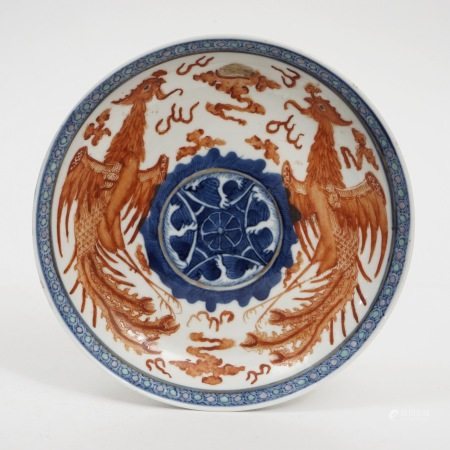 A blue and white alum red double phoenix plate, Guangxu period, Qing Dynasty 清光绪青花矾红双凤盘