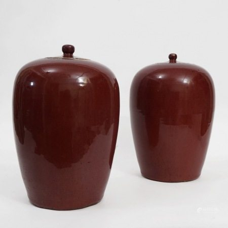 A pair of red-glazed winter melon jars, Qianlong period, Qing Dynasty 清乾隆窑变红釉冬瓜罐一对