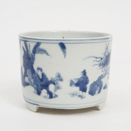 A blue and white figure three-legged incense burner, Chongzhen period, Ming Dynasty 明崇祯青花人物三足香炉