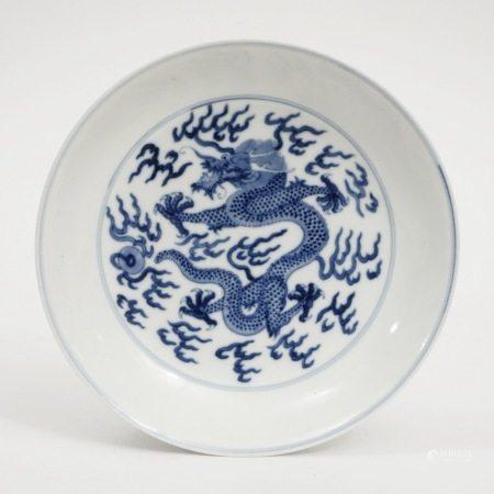 A blue and white dragon plate, Guangxu period, Qing Dynasty 清光绪青花龙纹盘