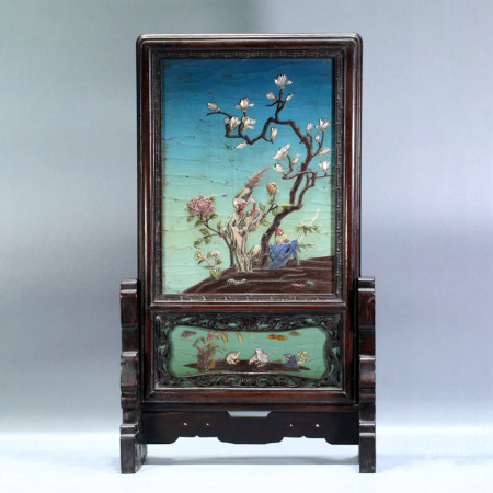 A GEM INLAID FLOWER & BIRD MOTIF ROSEWOOD TABLE SCREEN