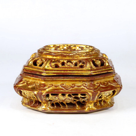 A GOLD LACQUER WOOD OPEN WORK AROMATHERAPY CENSER