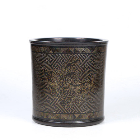 A 'FISH TO DRAGON' MOTIF ROSEWOOD SILVER INLAID BRUSH POT