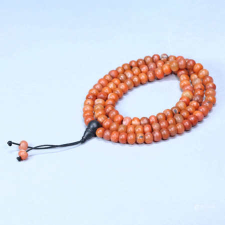 108 PIECES RED AGATE BUDDHA BEADS STRING