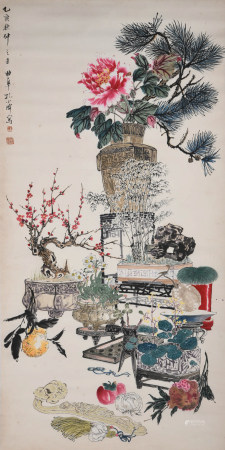 A CHINESE FLOWERS PAINTING KONG XIAOYU MARK