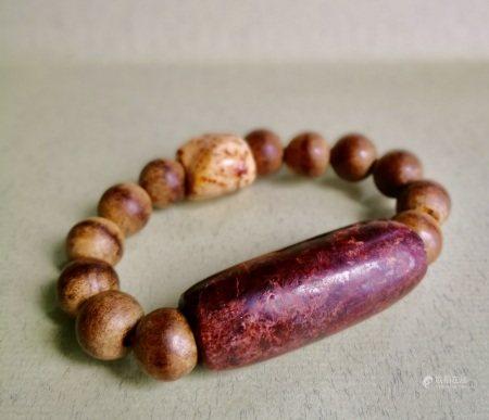 清代 土紅沁大珒手珠