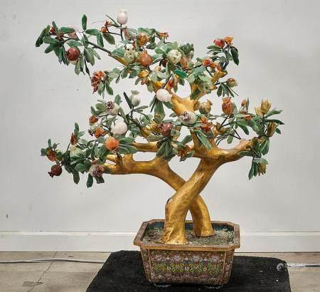 CHINESE HARDSTONE POMEGRANATE TREE