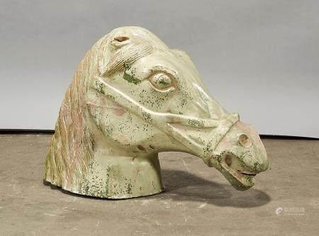 CHINESE GLAZED CERAMIC HORSE HEAD