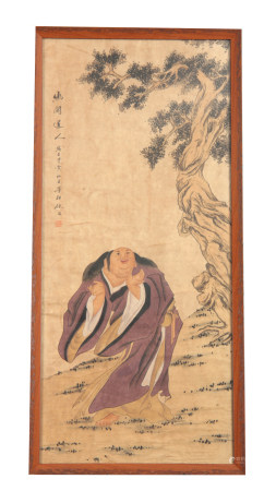 19TH CENTURY JAPANESE WATERCOLOUR ON PAPER depicting a robed scholar in a tree-lined landscape