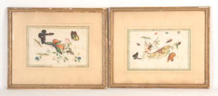 A PAIR OF 19TH CENTURY CHINESE EMBROIDERED SILK PANELS depicting butterflies and insects amongst