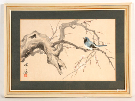 CHINESE/JAPANESE SCHOOL  Watercolour of a Bird on blossoming branchwork  30cms by 46cms Signed