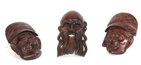A JAPANESE MEIJI PERIOD HARDWOOD NOH MASK TOGETHER A PAIR OF JAPANESE MASKS the man with beard