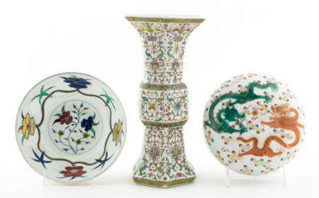 3 PCS, CHINESE PORCELAIN DECORATIVE OBJECTS