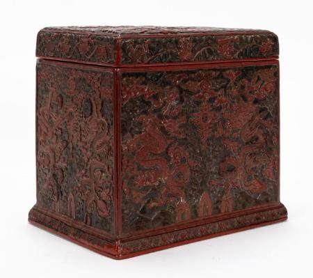 CHINESE MING DYNASTY CARVED CINNABAR LIDDED BOX