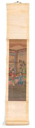 CHINESE HAND PAINTED SCROLL, INTERIOR SCENE