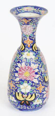 BLUE AND FLORAL HAND PAINTED JAPANESE VASE
