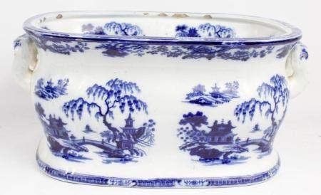 LARGE BLUE AND WHITE JAPANESE SATSUMA STYLE BOWL