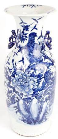 LARGE BLUE AND WHITE JAPANESE VASE SATSUMA STYLE