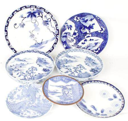 LOT OF 7 - BLUE AND WHITE CHINESE PORCELAIN
