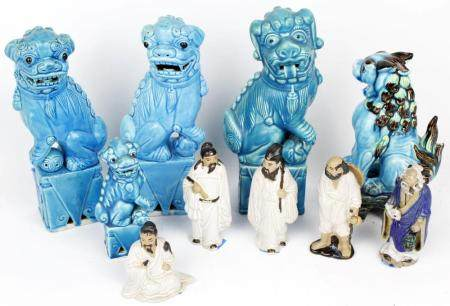 LOT OF ASIAN STATUES AND FOO DOGS