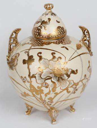 SATSUMA GILT FOOTED URN HANDLES FLORAL BUTTERFLY