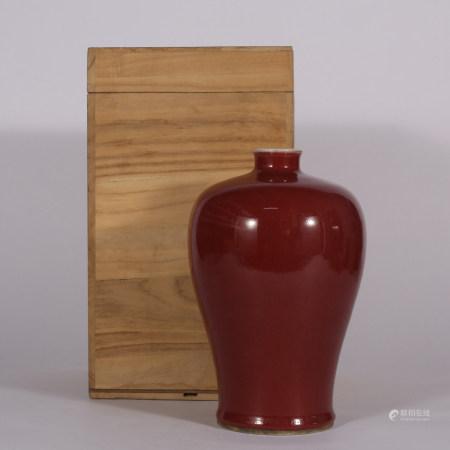 清 红釉梅瓶