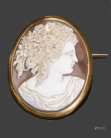 - Broche camée coquillage à décor de profils dans un entourage en or jaunePb: 16,42gr