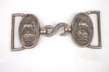 An early 20th century Royal Navy officers white metal belt buckle with snake clasp. Overall width