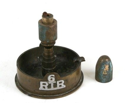 A Second World War 6th Royal Tank Regiment trench art combined Ashtray & Petrol Lighter. Made from a