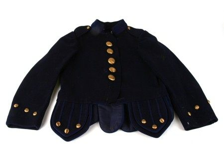A blue cloth Piper's jacket with brass buttons.