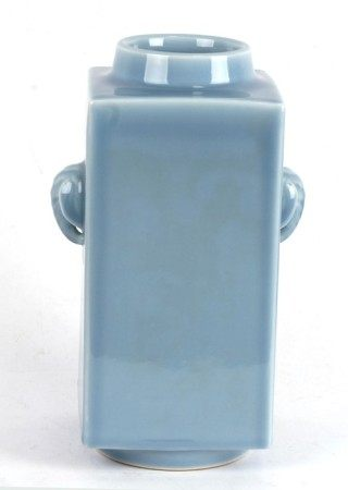 A pale blue glaze Cong vase with six character mark to the underside, 30cms (12ins) high.Condition