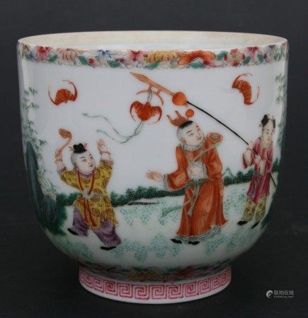 A Chinese Republic period pot decorated with a procession of boys, red seal mark to the underside,