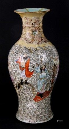 A large Chinese baluster vase decorated with an Immortal in a seascape, blue seal mark to the