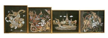 Indian school - a set of four embroidered pictures on silk depicting Deities and Warriors, each