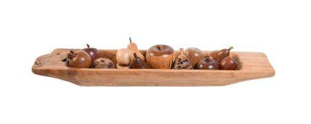 A collection of thirteen various hardwood and burrwood models of fruit