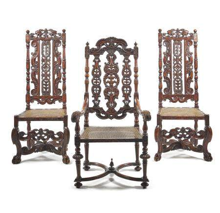 A pair of Charles II side chairs
