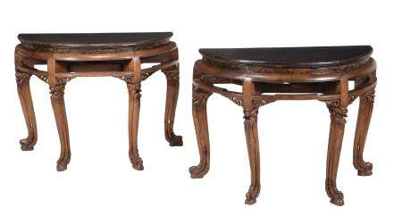 A pair of Chinese hardwood, probably elm, side tables
