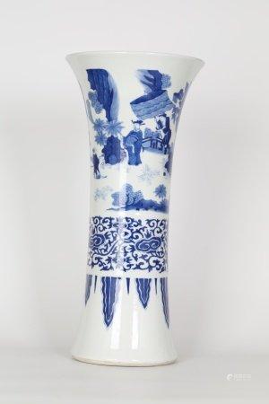 Tall Chinese Blue & White Beaker Vase
