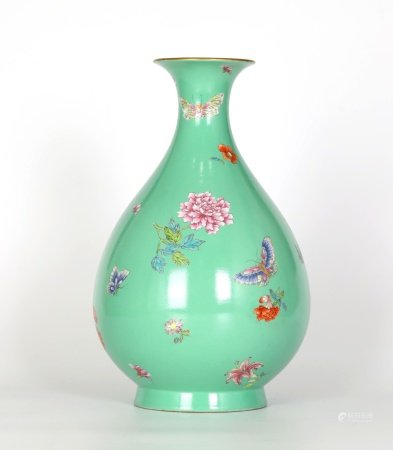 Chinese Famille Rose Green Ground Pearl Vase