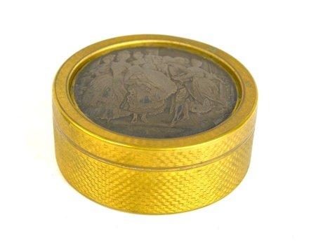 French Round Bronze Silver Panel Box