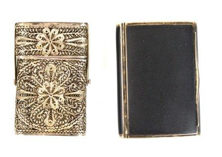 Two Silver Enamel & Filigree Boxes