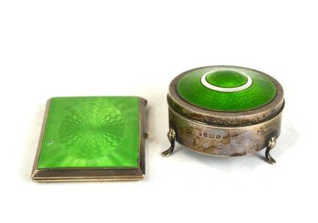 Two Silver Green Enamel Boxes
