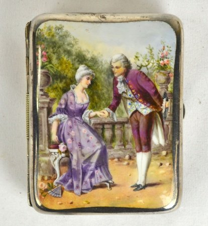 Silver Enamel Courting Scene Card Case
